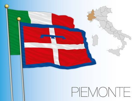 Piemonte official regional flag and map, Italy, vector illustration