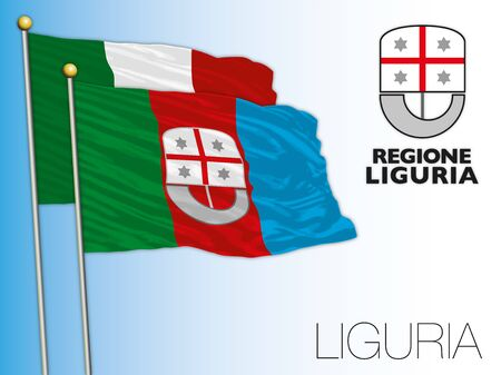 Liguria official regional flag and coat of arms, Italy, vector illustration