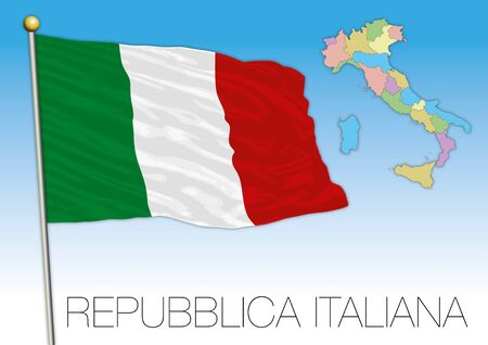 Italy official national flag and map, European Union, vector illustration