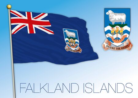 Falkland Islands official national flag and coat of arms, UK, vector illustration 向量圖像