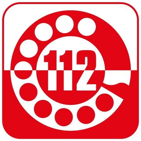 Emergency number 112, Italy, vector drawing