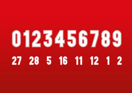 Vintage style  race numbers font on the red background, vector graphics