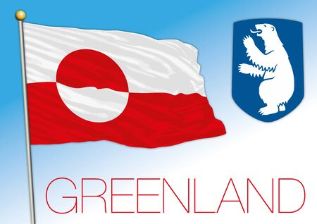 Greenland official national flag and coat of arms, american territory, Denmark, vector illustration