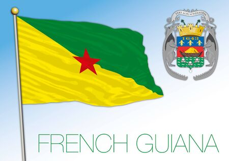French Guiana flag and coat of arms, south america, vector illustration