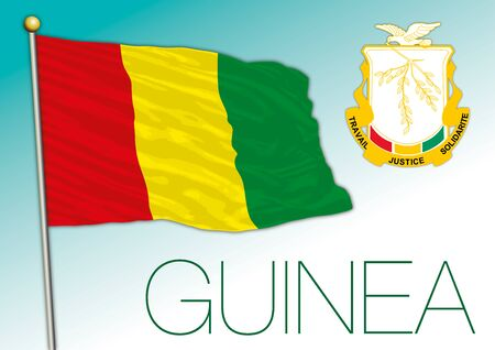 Guinea official national flag and coat of arms, african country, vector illustration