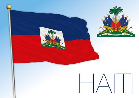 Haiti official national flag and coat of arms, central america, vector illustration Vecteurs