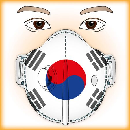 Antiviral mask for anti virus protection with South Korea flag, vector illustration