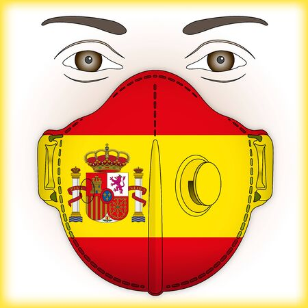 Antiviral mask for anti virus protection with Spain flag, vector illustration