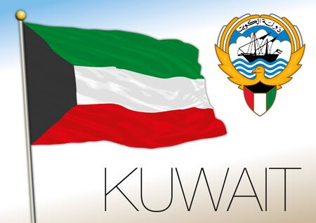 Kuwait official national flag and coat of arms, asiatic country, vector illustration
