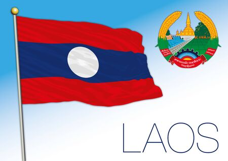 Laos official national flag and coat of arms, asiatic country, vector illustration Ilustrace
