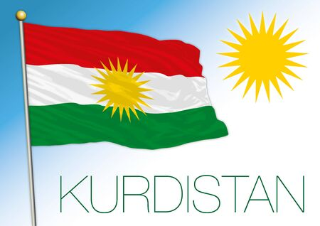 Kurdistan national flag and symbol, asiatic territory, vector illustration