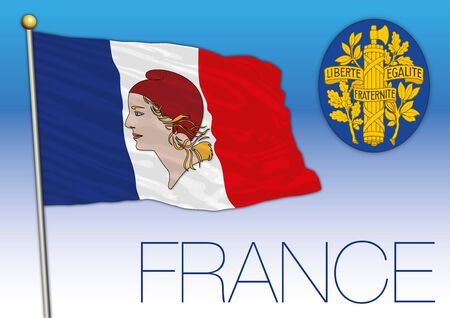 France flag with Marianne portrait symbol and national coat of arms, vector illustration