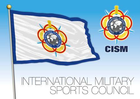 International Military Sports Council flag and symbol, CISM, international organization, vector illustration