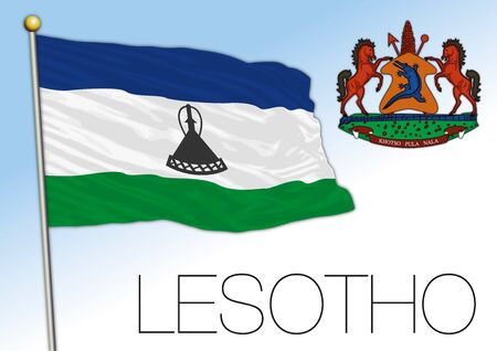 Lesotho official national flag and coat of arms, african country, vector illustration
