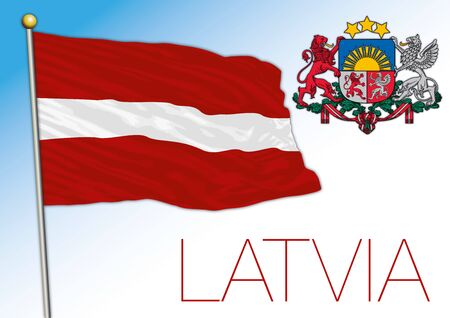 Latvia official national flag and coat of arms, European Union, vector illustration