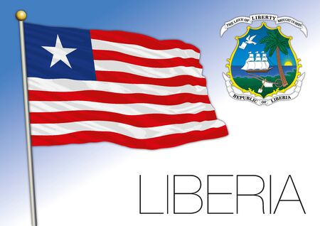 Liberia official national flag and coat of arms, Africa, vector illustration