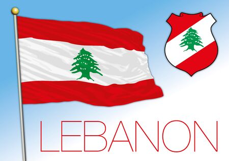 Lebanon official national flag and coat of arms, middle east, vector illustration