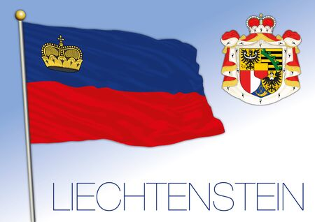 Liechtenstein official national flag and coat of arms, Europe, vector illustration