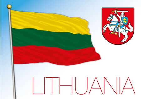 Lithuania official national flag and coat of arms, European Union, vector illustration
