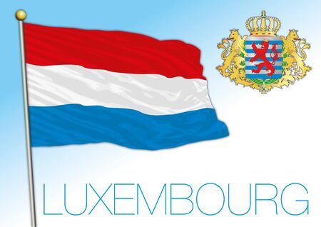 Luxembourg official national flag and coat of arms, European Union, vector illustration Reklamní fotografie