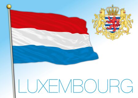 Luxembourg official national flag and coat of arms, European Union, vector illustration Ilustrace