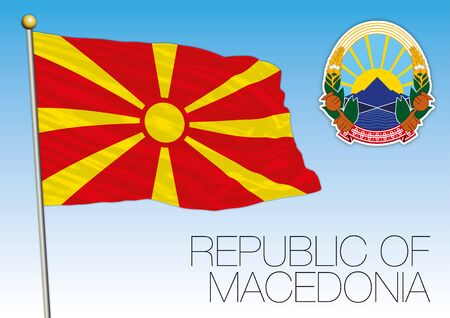 North Macedonia official national flag and coat of arms, Europe, vector illustration