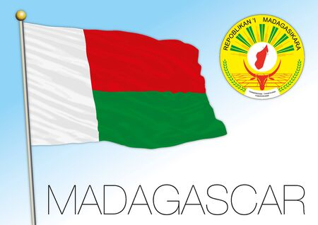 Madagascar official national flag and coat of arms, africa, vector illustration Ilustrace