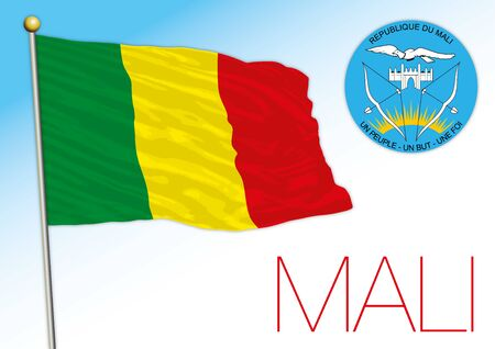 Mali official national flag and coat of arms, african country, vector illustration Vectores