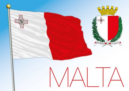 Malta official national flag and coat of arms, European Union, vector illustration
