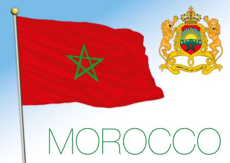 Morocco official national flag and coat of arms, north african country, vector illustration