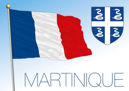 Martinique official national flag and coat of arms, French territory, vector illustration