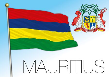 Mauritius official national flag and coat of arms, vector illustration