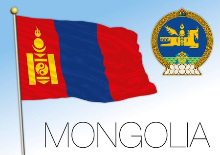 Mongolia official national flag and coat of arms, asiatic country, vector illustration 矢量图像