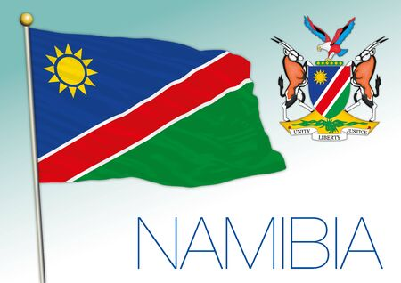 Namibia official national flag and coat of arms, african country, vector illustration 向量圖像