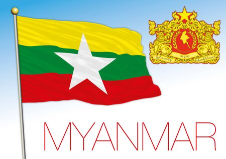 Myanmar official national flag and coat of arms, asiatic country, vector illustration Illustration