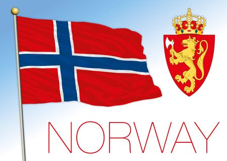 Norway official national flag and coat of arms, europe, vector illustration