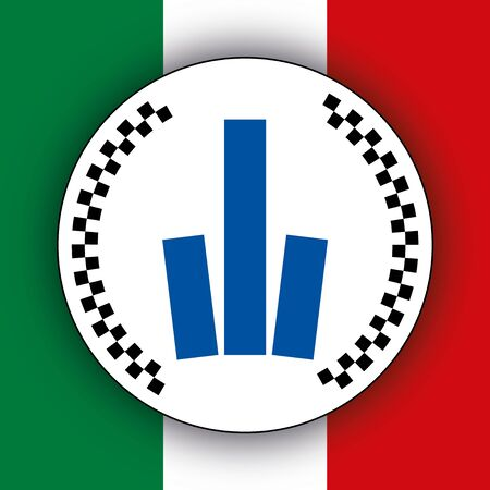 Municipal Police coat of arms on the Italian flag, Italy, vector illustration, local policy system