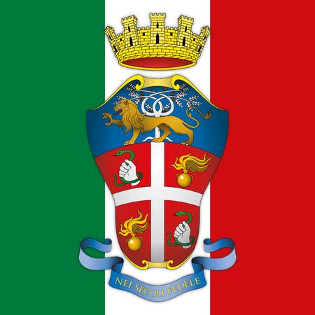 Corps of Carabinieri coat of arms on the Italian flag, Italy, vector illustration