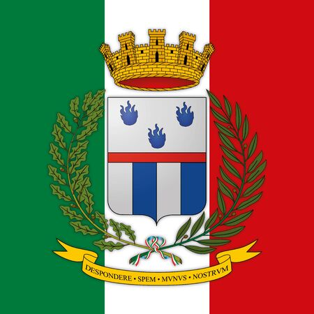 Penitentiary Police coat of arms on the Italian flag, Italy, vector illustration