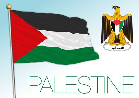 Palestine official national flag and coat of arms, middle east country, vector illustration Illustration
