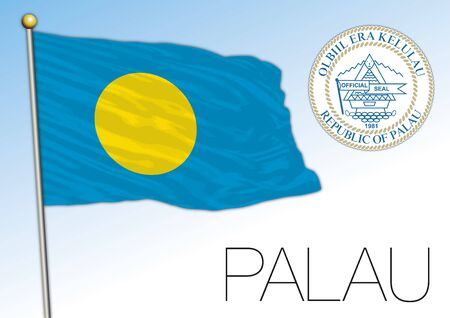 Palau official national flag and coat of arms, oceania, vector illustration