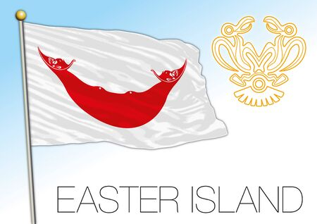 Easter Island official regional flag, south america and oceanian country, vector illustration