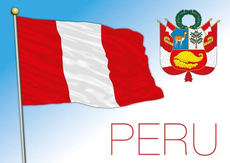 Peru official national flag and coat of arms, south america, vector illustration