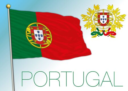Portugal official national flag and coat of arms, European Union, vector illustration
