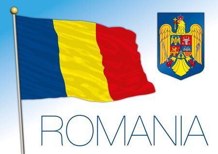 Romania official national flag and coat of arms, European Union, vector illustration Vettoriali