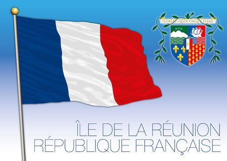 Reunion official national flag and coat of arms, french territory, vector illustration Vectores