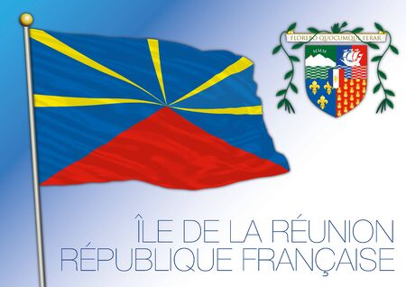 Reunion unofficial national flag and coat of arms, french territory, vector illustration