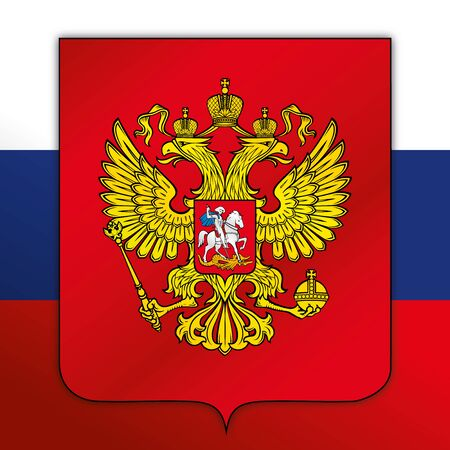 Russia Federation official national flag and coat of arms, asiatic and european country, vector illustration
