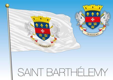 Saint Barthelemy official national flag and coat of arms, caribbean, vector illustration Ilustração