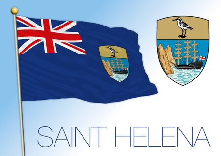 Saint Helena official national flag and coat of arms, UK, vector illustration